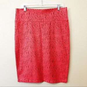LuLaRoe stretch coral lace type pencil skirt
